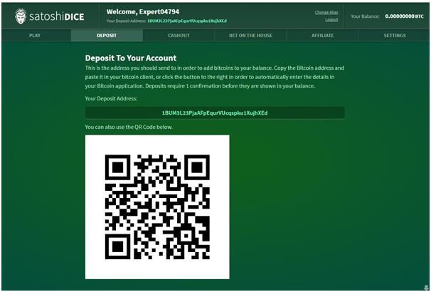 Satoshi Dice Account and Deposit