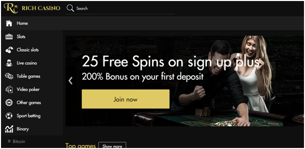 25 Free Spins on Sign Up at Rich casino