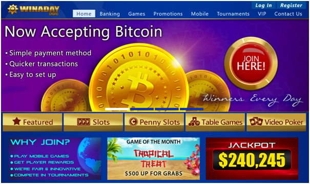 Win A Day Casino accepts Bitcoins