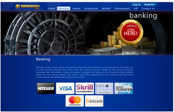 Winaday casino- Banking