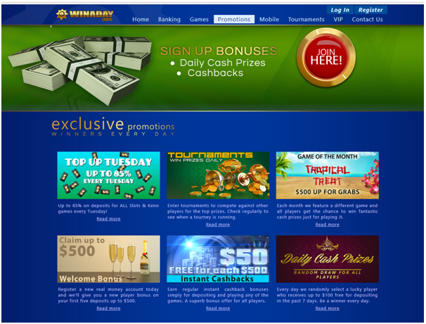 Winaday casino- Promotions