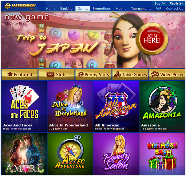 Winaday casino- Games to play