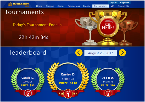 Winaday casino Tournaments