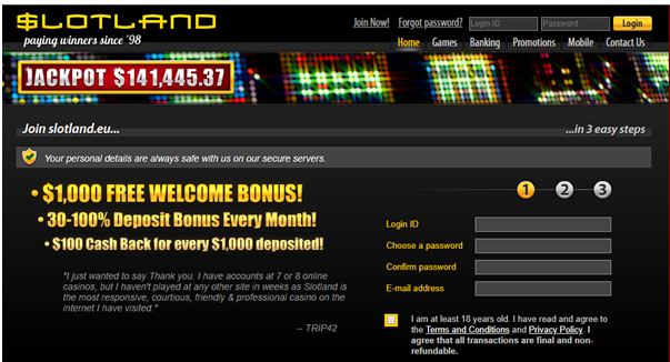 SLotland Casino for US players