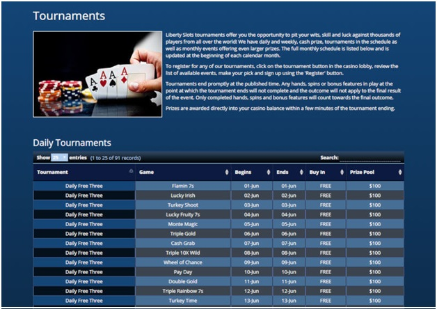 Tournaments at Liberty Slots Bitcoin Casinos