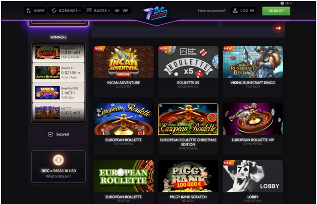 7 bitcoin casino- table games