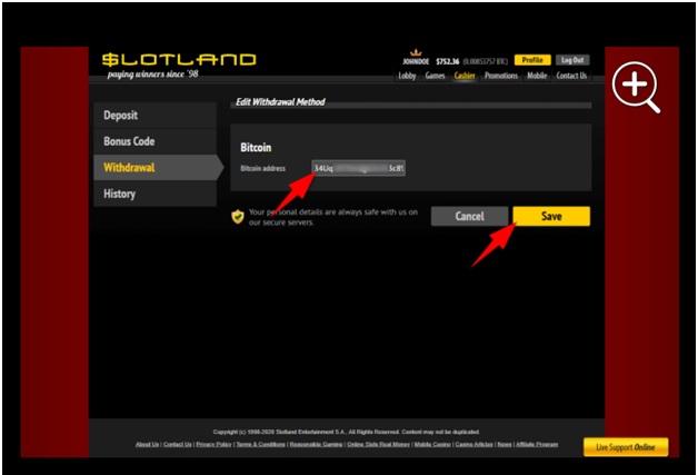 Bitcoin withdrawal at slotland casino online